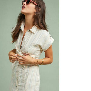 Anthropologie Dresses - NWT Anthro Striped Tie-Front Shirtdress 12